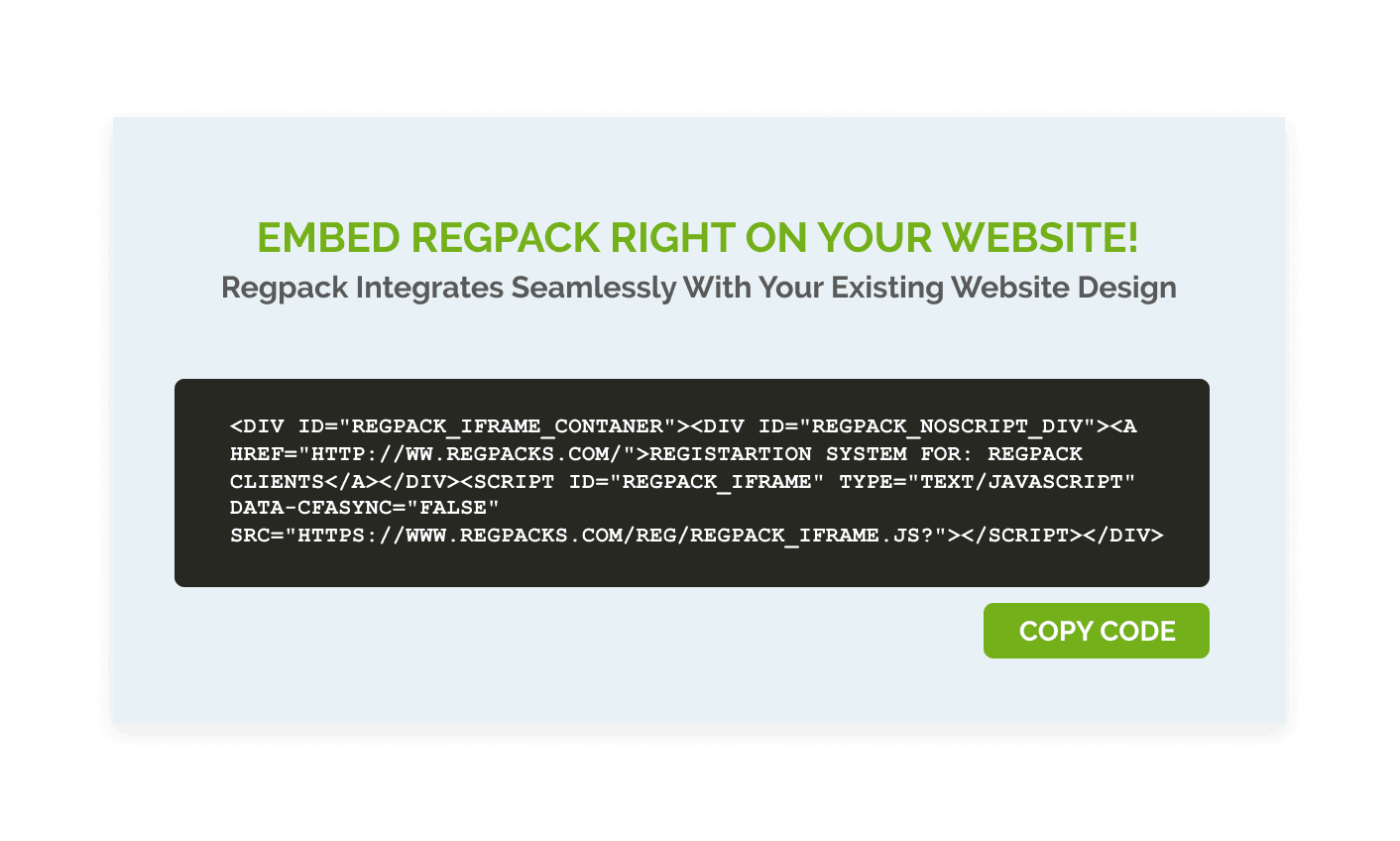 Embed your registration form on your website easily with Regpack.