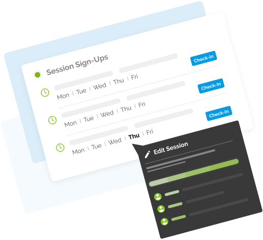 Make it easy for users to sign up for sessions on your website, check them in, and track attendance.