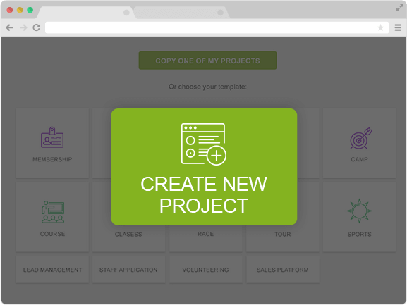 registration templates and easy create new registration project button