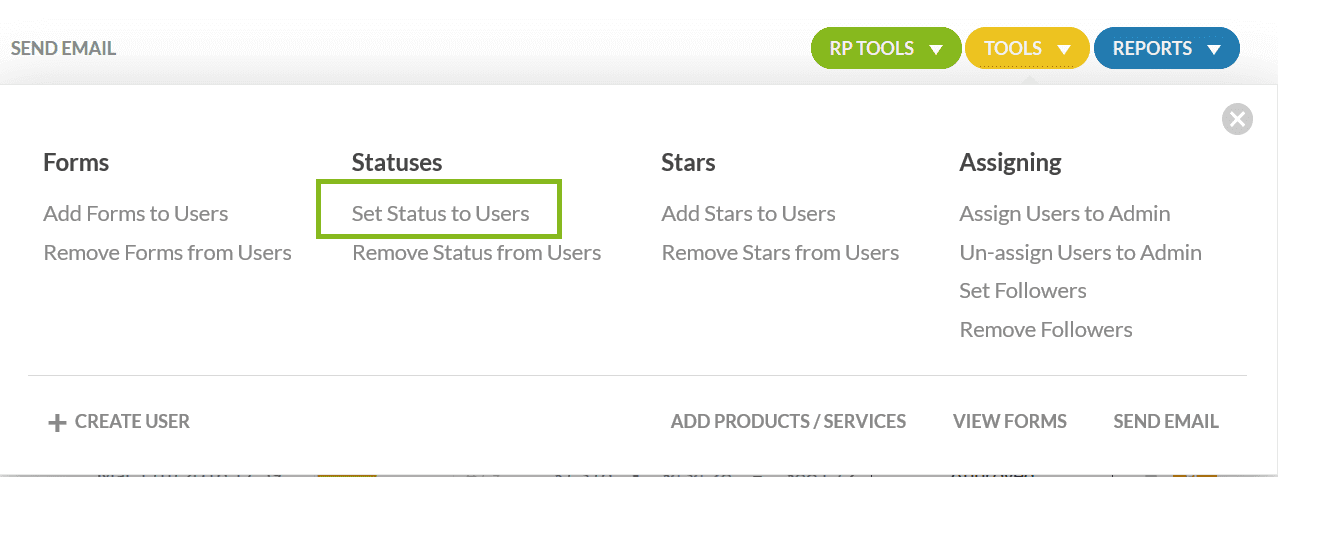 set status to users.