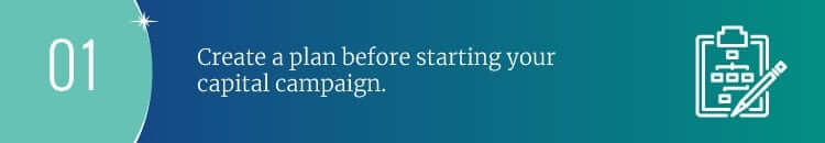 Create a plan before starting your capital campaign.