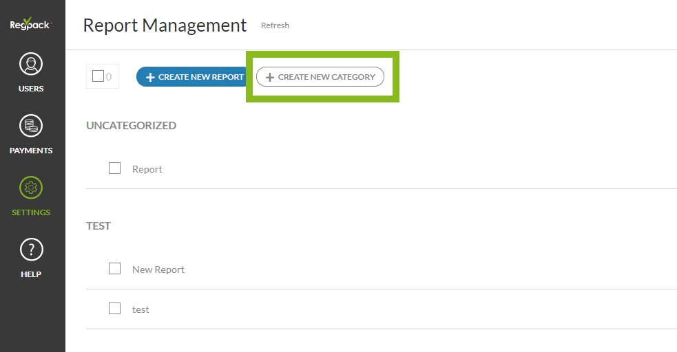 Create New Report Category