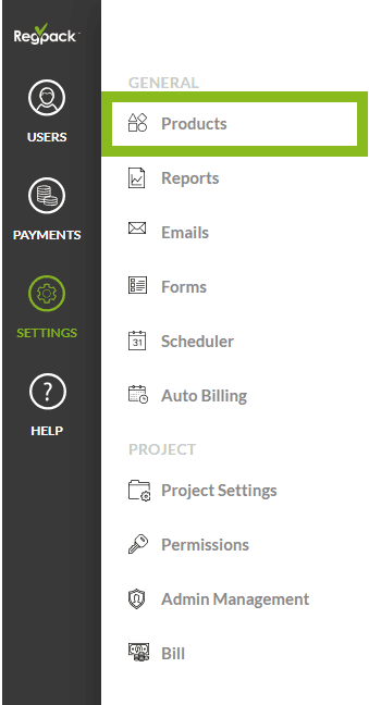 settings products