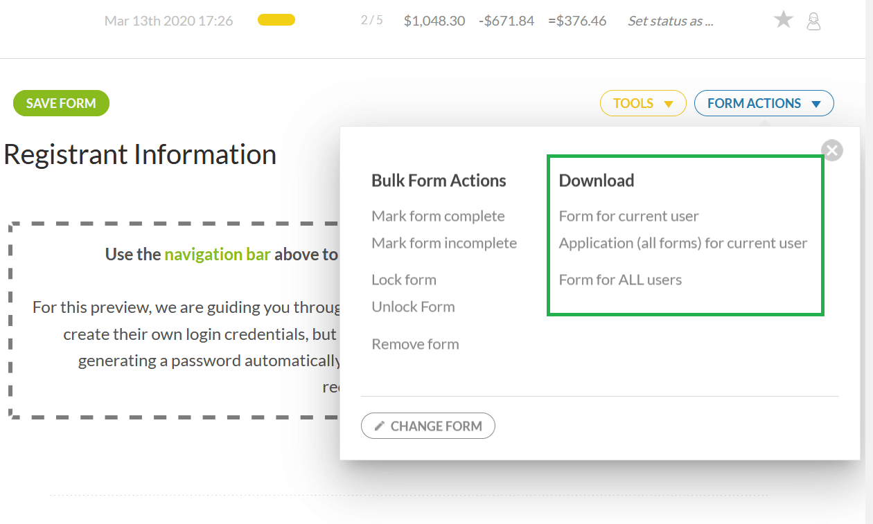 download user forms