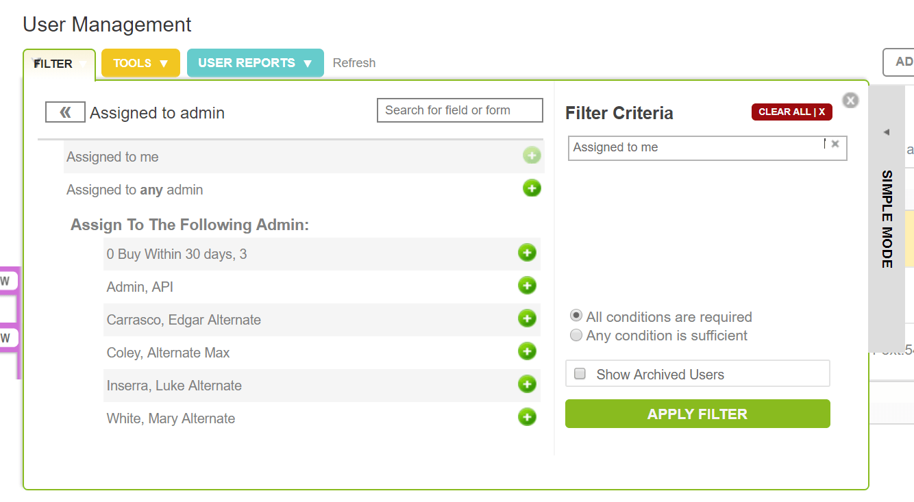 filter assigned users
