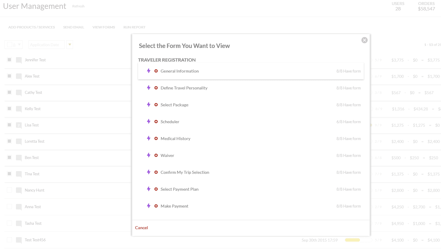 select form for multiple users