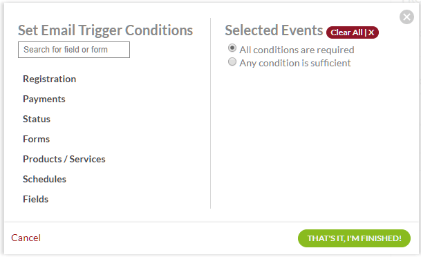 trigger conditions