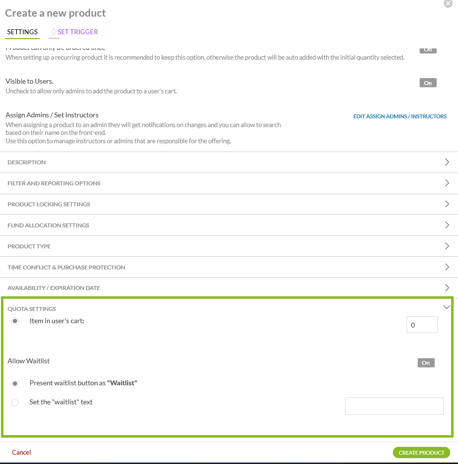 waitlist setting for product