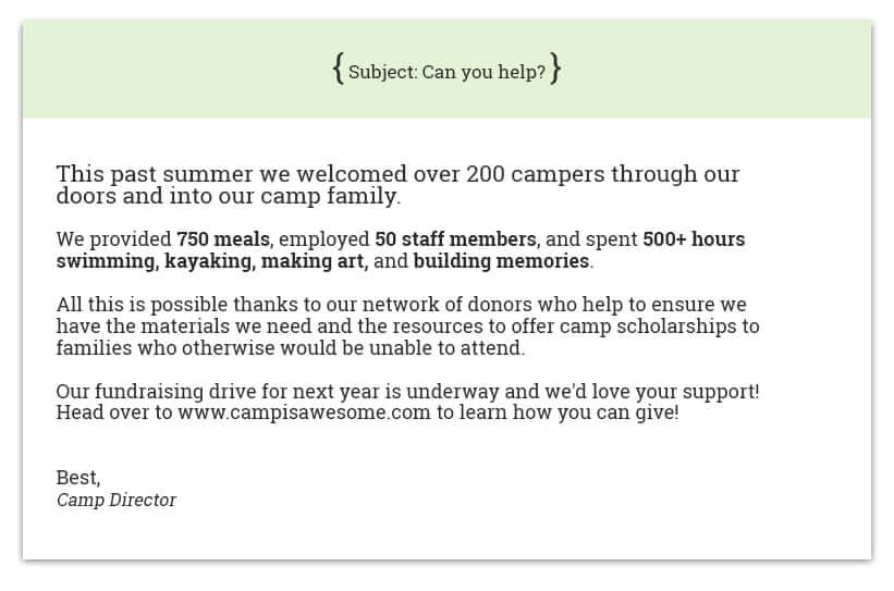 Step up your summer camp fundraising strategy by sending your donors emails or handwritten letters.