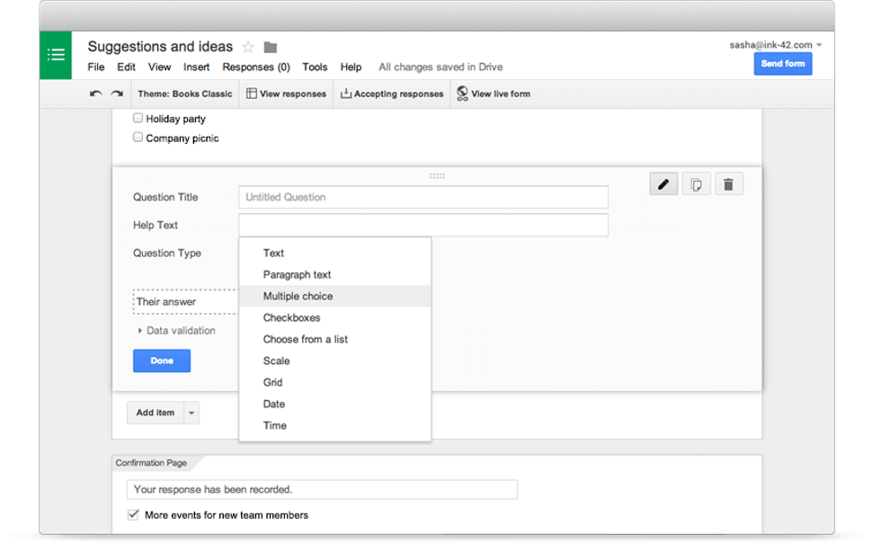 This is a screenshot of Google Forms' online registration software