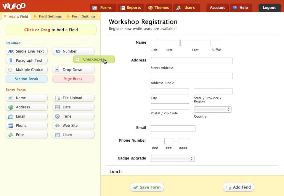 This is a screenshot of Wufoos form builder.