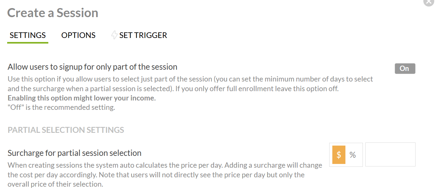 allow users to sign up for part of the session