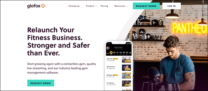 Glofox's homepage is targeted at fitness businesses ready to re-open with membership programs.