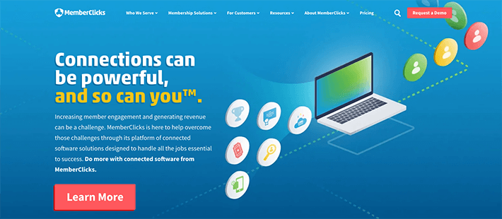 Memberclicks's homepage offers demos to learn more about their membership software.