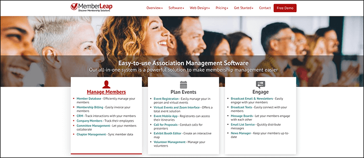 Memberleap's association management software has three main components: managing members, planning events, and engagement.