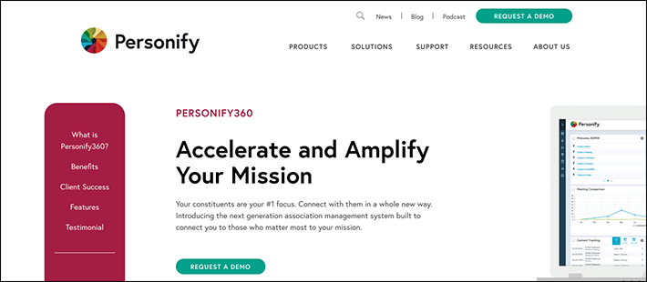Personify360's homepage offers demos to learn more about their membership software.