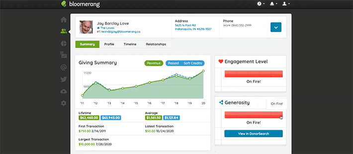 Bloomerang's donation management software tracks each donor's engagement.