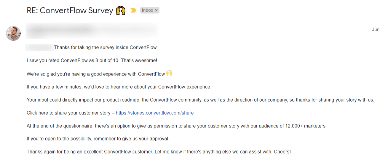 NPS promoters email